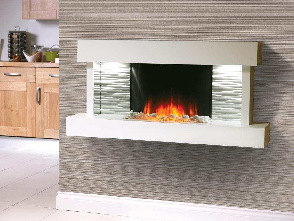 Kara Starlight White Wall Mounted Electric Fire Eco Kitchens
