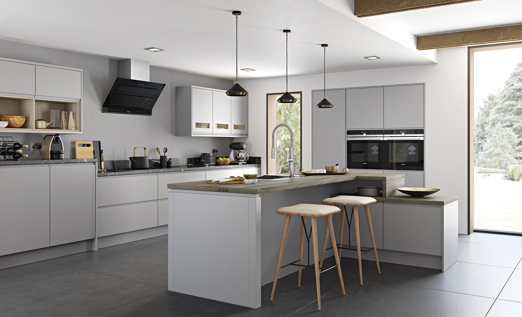 Dove Grey Super Matt J Pull Handleless Eco Kitchens Fireplaces