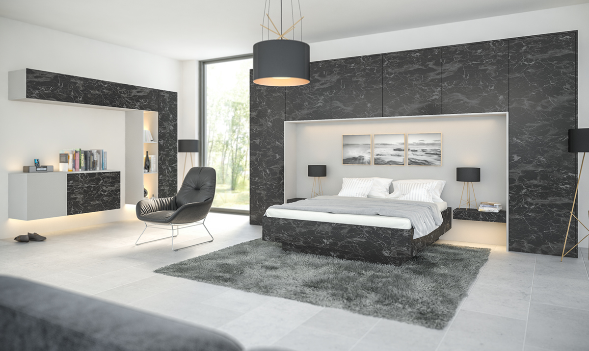 Bespoke Painted Oriental Black Light Grey Super Matt Fitted Bedroom Eco Kitchens Fireplaces